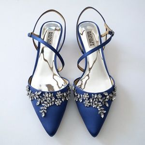 Badgley Mischka Fae, Italian Blue, Kitten Heels 8M
